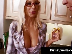 Busty Blonde Bombshell Puma Swede Gets Cum On Her Glasses!