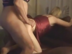 Hot blonde wife bends over sofa and takes cock doggystyle