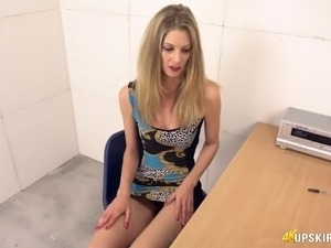 Long legged lady Leah is naughty office slut who loves flashing her panties
