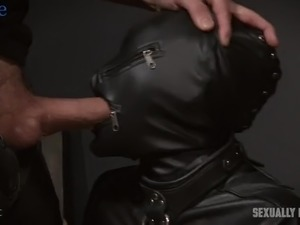 Wearing latex straitjacket submissive Eden Sin gets mouthfucked hard