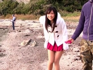 Pretty Japanese teen has two boys sharing her tight snatch