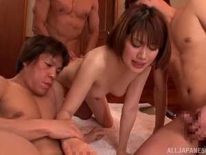 Asian milf gets fucked in all positions in amazing gangbang scene