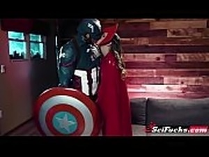 Horny Captain America fucks Scarlet Witch as beautiful Jillian Janson