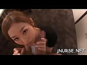 Sexy nurse gets titties licked and screwed in a lot of poses