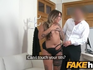 Fake Agent German girl with tattoos and natural body
