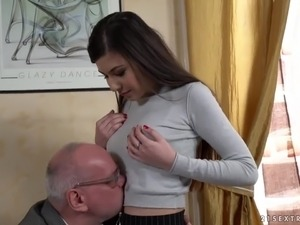 Buxom slutty Turkish hottie Anya Krey lures older man to ride his cock