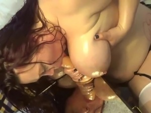 BBW toy suck and tit fuck