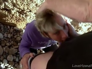 Slim Blonde Chokes On Hard Cock At Beach.mp4