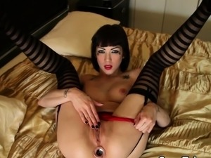 Babe with buttplug rides cock after teasing