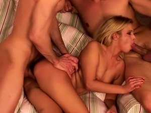 Two horny men are banging a blonde princess