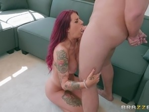 tana lea is sucking big cock and licking balls