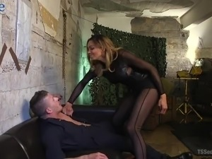 Attractive ladyboy Yasmin Lee is so happy to pound asshole of lewd buddy
