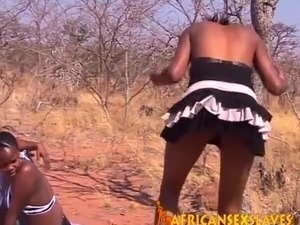 Black Amateur Bitches Sprayed with Cum and Tied Up to a Tree