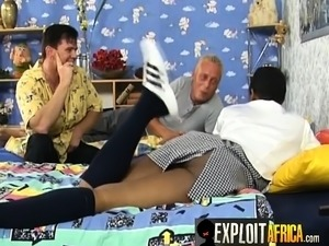 Teen African nanny in a hardcore interracial threesome