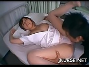 Big titted nurse sucks dick and gets bushy cunt pounded hard