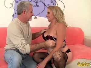 Sexy mature slut gets kissed and tits sucked She gets her