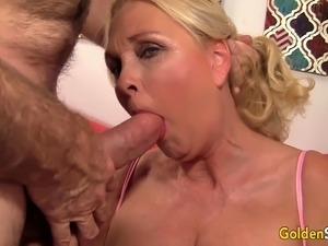 Mature blonde woman gets her pussy rubbed and fingered She