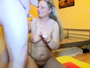 Stacked mom chokes on a fat cock and takes a mouthful of cum