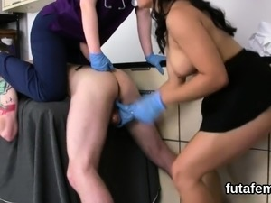 Chicks drill lovers anal hole with massive strapons and blas