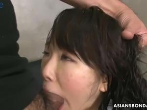 Handcuffed Japanese lady Ai Mizushima gets mouthfucked and anal banged