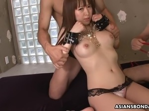 Tied up with red ropes submissive Sayaka Tsuji gets fucked doggy style hard
