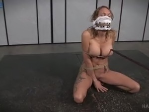 Submissive buxom hottie Rain DeGrey gets gagged and tied hard with ropes