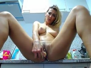 horny slut made her pussy cum creampie at kitchen