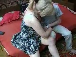 Cute and mature blonde cougar seducing my friend for steamy sex