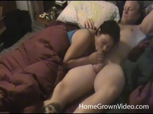 Curvy girlfriend swallows his cock and takes it missionary style