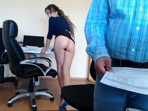 Beautiful secretary with big hooters is aching for pleasure