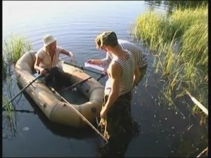 Threesome at the lake with a horny Russian slut that craves dick