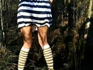 Slutty young brunette sucks a POV cock clean in the outdoors
