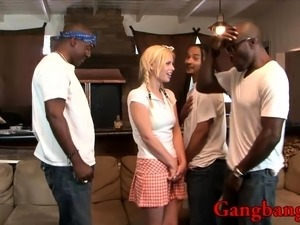 Horny black dudes fuck naughty hot babe on the couch