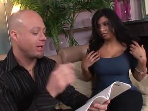 Bald buddy wins a chance to work on inviting pussy of curvy Michelle Rica