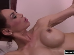 Busty latina shemale gets analed by masseurs cock