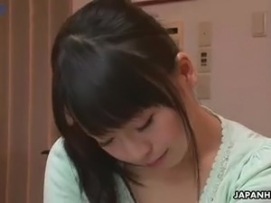 Naughty and lovely Japanese hottie Nozomi Hazuki lets some dudes tease her