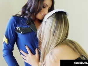 Pussy Police Its Cleo Tongue Fucks Young Maid Kimber Lee!
