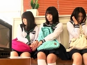 Charming Japanese schoolgirls learn a lesson in hardcore sex