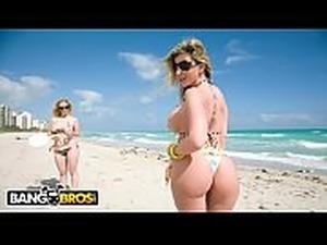 BANGBROS - Sara Jay and Krystal Star Show Off Their Big Asses At The Beach