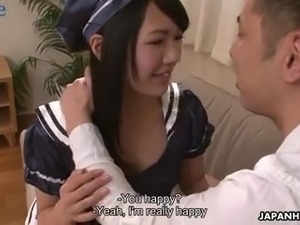 Before getting her unshaved Asian pussy poked mish maid gives BJs
