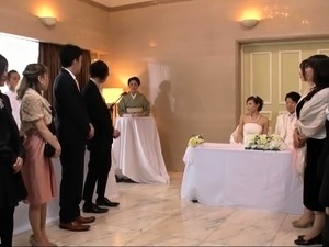 Lustful Japanese friends enjoy wild group sex at a wedding