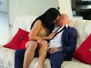 Horn-mad tanned shemale Chanel Santini lets pale dude ride her dick
