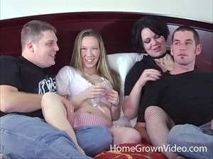 Horny wives exchange husbands in a kinky foursome action