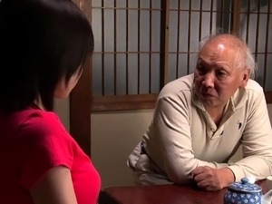 Busty Asian wife has an old man licking and fucking her cunt