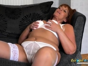 sexy mom in white lingerie