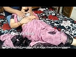 Indian wife in pink saree sucking thick black cock and swallows his thick cum